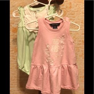 Ralph Lauren Polo set of 2 Romper and Dress 9 Mos